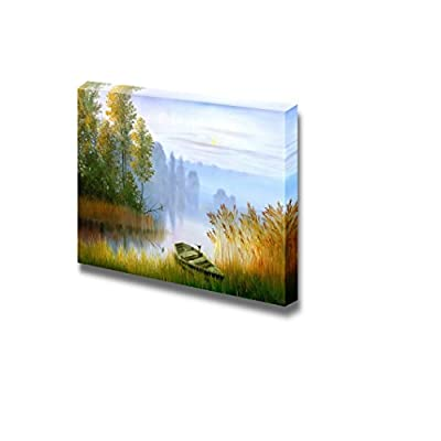 Canvas Prints Wall Art - Wooden Boat on The Bank of Lake on a Decline - 24