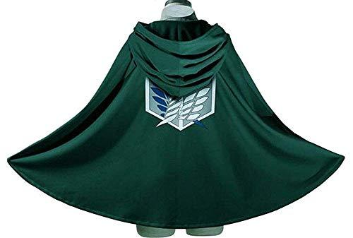 RAIN Attack on Titan Research Corps Revival Cosplay Costume Freedom Cloak Cape Green ()