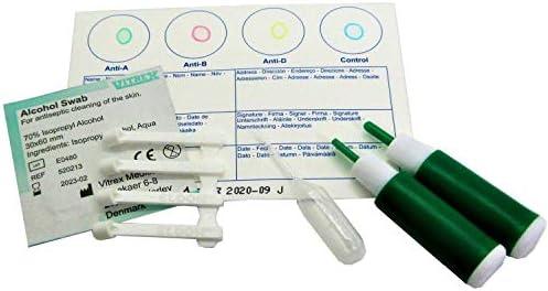 Eldoncard Blood Type Test (Complete Kit) - Air Sealed Envelope, Safety Lancet, Micropipette, Cleansing Swab