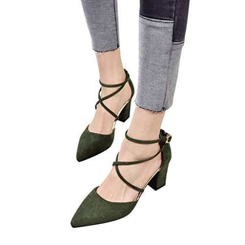 (Women Pointed Sandals, NDGDA Square High Heel Root Strap Buckle Shoes Sandals Clearance Sale)