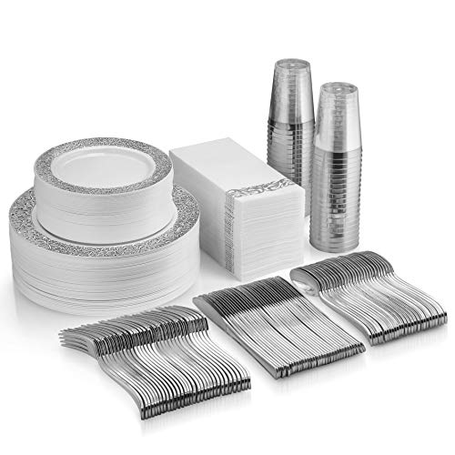 Wedding Plates Bulk (350 Piece Silver Dinnerware Set - 100 Silver Lace Design Plastic Plates - 50 Silver Plastic Silverware - 50 Silver Cups - 50 Linen Like Silver Napkins, 50 Guest Disposable)