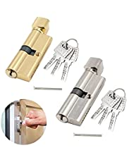 Duim draai Euro cilinder deurslot vat, 2 stuks deurvat slot met 6 sleutels, Anti-Bump, Anti-Boor, Knop Cilinder Lock Cilinder deurslot, Hoge veiligheid voor hout, Upvc en composiet deuren.70mm