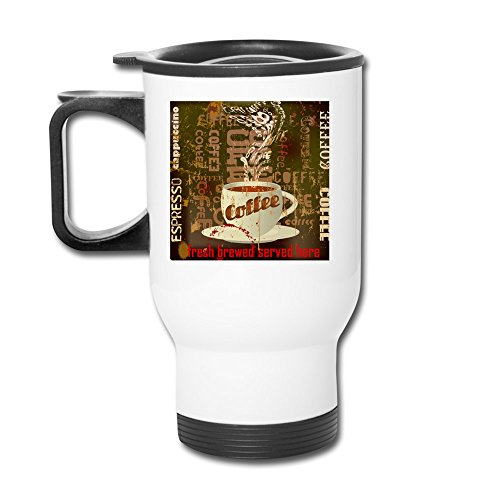 Fresh Brewed Served Here Aluminum White Travel Mug, 12 Ounces