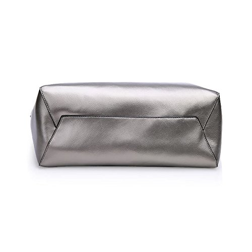 Gray Handbag Leather Myleas Shoulder Myleas Tote Genuine Womens Womens Bag Genuine Y74qvg