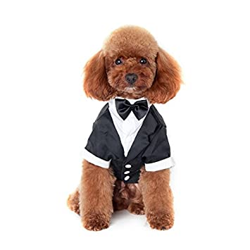 116e5bd9bebe9 AWHAO 犬服 つなぎ シャツ リボン タキシード 犬 服 犬洋服 シャツ 男の子 誕生日 結婚