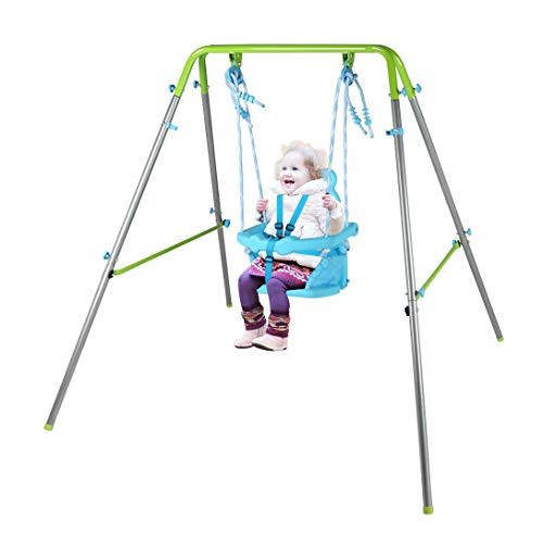 BestValue Go Folding Baby Toddler Swing Indoor & Outdoor Garden Metal Swing Chair with High Back Seat
