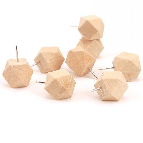 HardNok 50 Pcs Geometric Wood Thumbtacks Extra Large Push Pins