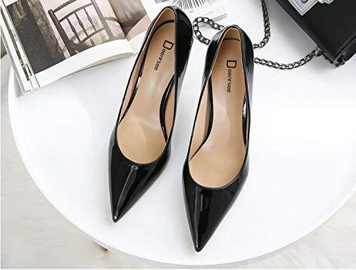 Gericht Schuhe Einzelne Schuhe weibliche frische High Heels Frau zeigte fein mit Brautschuhe Hochzeit Schuhe weiblich (Farbe   32, Größe   schwarz 6CM)