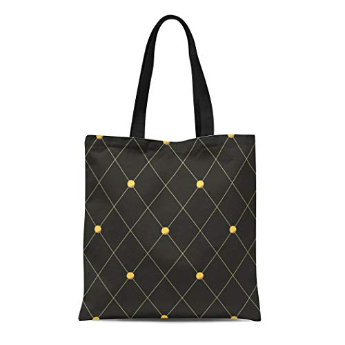 (Semtomn Cotton Canvas Tote Bag Yellow Pattern Grey Quilted Rhombus Quilt Diamond Grid Stud Reusable Shoulder Grocery Shopping Bags Handbag Printed)
