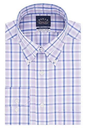- Eagle Men's Dress Shirt Non Iron Stretch Collar Regular Fit Check, Desert Rose, 17.5