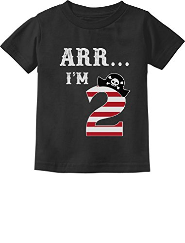 Tstars Arr I'm 2 Pirate Birthday Party Gift Two Year Old Toddler/Infant Kids T-Shirt 2T Black