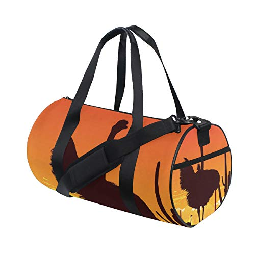 Cross Ostrich (Ostrich Travel Gym Sports Bag Dance Travel Weekender Duffel Bag with Shoe Compartment)