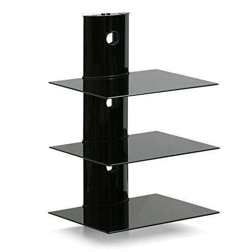 FURINNO FRL002BK 3 Floating Wall Shelf for Media Accessories, 3-Tier, Black by Furinno