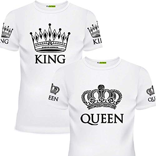 King Queen Matching Shirts for Couples (Men 3XL / Women L White Set, White)]()