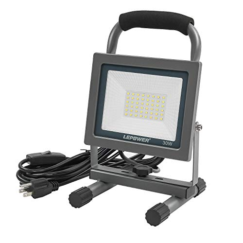LEPOWER 30W LED Work Light Outdoor, 3000LM Flood Work Light with Plug, IP66 Waterproof Portable flood light, 6000K Job Site Lighting with Stand for Workshop, Garage, Construction Site, Jetty