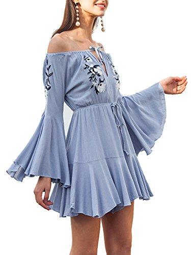 Abbigliamento Tuta A Del Spalle Blu Pagliaccetto Fit Chiarore Simplee Sottile Donna Lunga Manicotto 46OTvC
