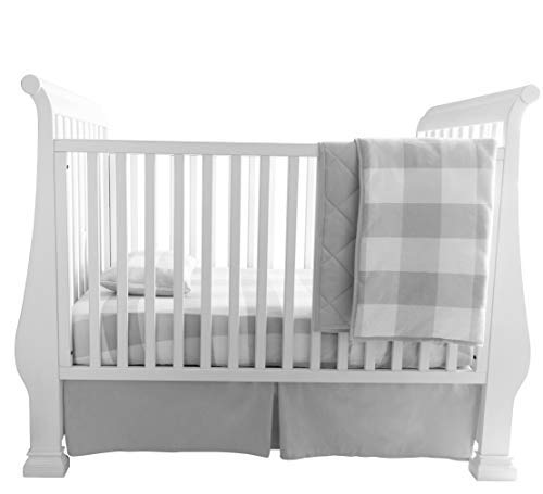 (Baby Crib Set 4 Piece, Crib Sheet,Quilted Blanket, Crib Skirt & Baby Pillow Case - Gingham Design (Grey))