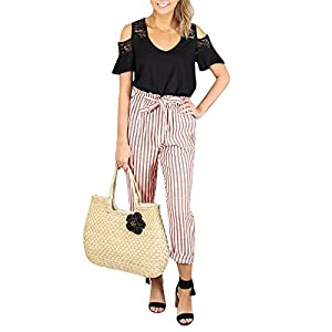 Womens High Waisted Plaid Striped Palazzo Pants Casual Tie Waist Cropped Trouser with Pockets
