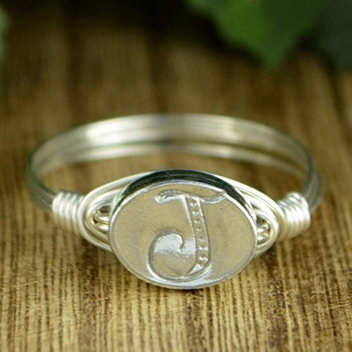 (Any Letter/Initial Pewter Bead and Sterling Silver or Gold Filled Wire Wrapped Ring- Custom made to size 4-14)