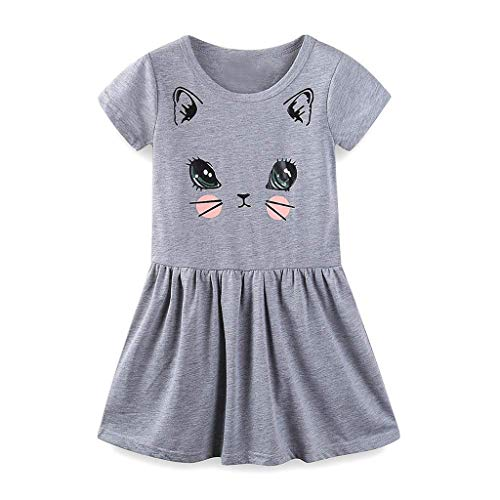 RYGHEWE Summer Cat Dresses for Girls Short Sleeve Casual Cotton Clothes Gray]()