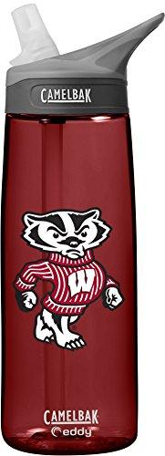 CamelBak NCAA Wisconsin Badgers Unisex Eddy Collegiate Water Bottle, 0.75 Litre - Cardinal (Badgers Wisconsin Cups)