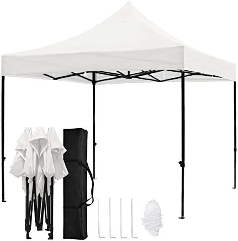 TopCamp Pop up Canopy Tent, 10x10ft Shade for Beach Heavy Duty Waterproof Outdoor Commercial Tents Instant Sun Shelter – White