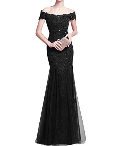 Bridesmaid Gown Wedding Shoulder Dresses Black Elegant for the Off Long Bridal Prom Ball AiniDress 46wWxAqzZP