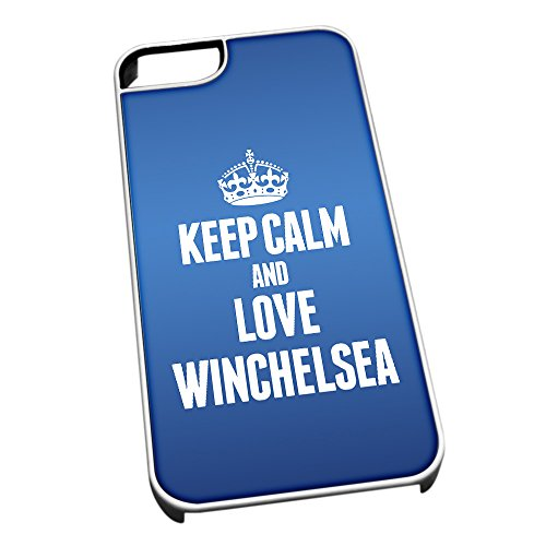 Bianco cover per iPhone 5/5S, blu 0722 Keep Calm and Love Winchelsea