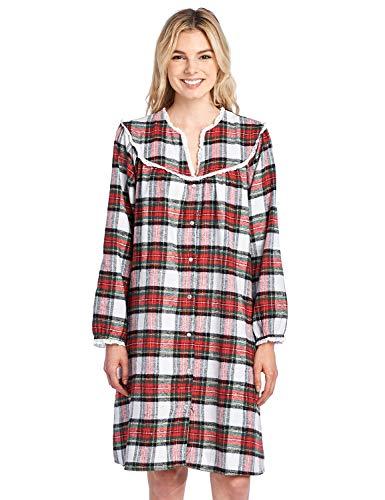 Flannel Lounger - Ashford & Brooks Women's Snap Front Flannel Robe Long Sleeve Lounger Duster House Dress, Dress Stewart, XL