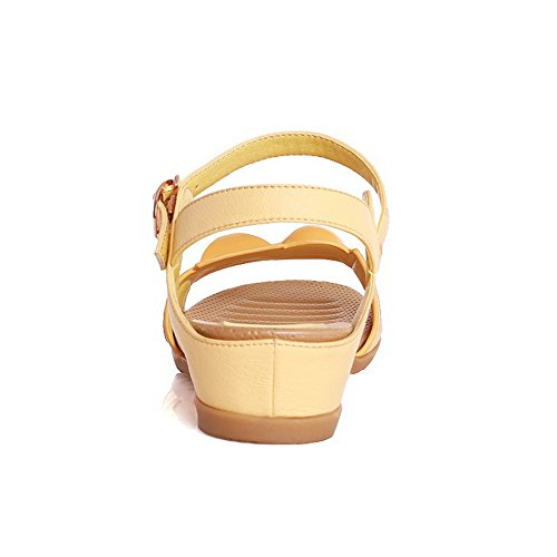 AmoonyFashion Womens Soft Material Buckle Open Toe Low Heels Solid Sandals Yellow CJCy9UtIf