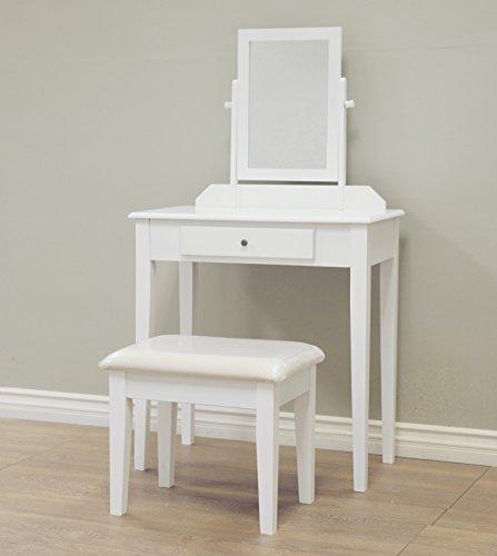 Frenchi Home Furnishing 3 Piece Wood Vanity Set, White Finish by Frenchi Home Furnishing