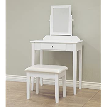 white chair for vanity. Frenchi Home Furnishing 3 Piece Wood Vanity Set  White Finish Amazon com Bedroom Table with Tilt Mirror