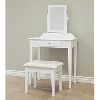 Frenchi Home Furnishing 3 Piece Wood Vanity Set, White Finish