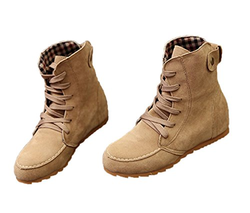 Planos Lazada Martin de Mujer Chic Beige Nieve Estilo Botines Botas Tartán Antideslizante Botas para Calentar Británico Invierno Minetom Zapatos Otoño Kq41wf8w6C