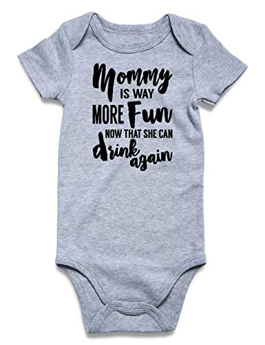 Baby Boys' Onesie Mommy is Way More Fun Now That She Can Drink Again Letter Print Short Sleeve Romper Bodysuits Unisex Newborn Infant Cotton Grey Jumpsuit