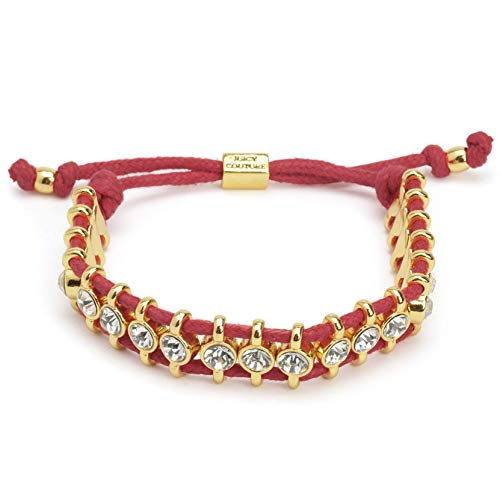 Juicy Couture Black Label Gold Crystal Red Cord Friendship Bracelet YJRU8379 (Juicy Couture Friendship Bracelet)