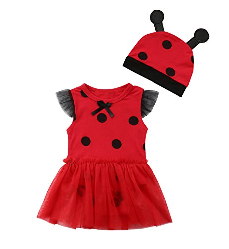 rechange Newborn Infant Baby Girls Ladybug Romper Dress Sleeveless Bodysuit Jumpsuit with Hat (0-6 Months) -