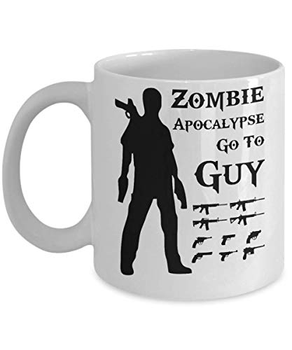 Walking Dead Zombie Apocalypse Go To Guy Gun Shooter Hunting Buck Coffee Mug, Funny, Cup, Tea, Gift For Christmas, Father's day, Xmas, Dad, Anniversar