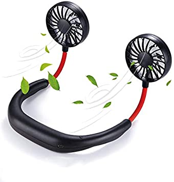 Power Bank Portable Personal USB Rechargeable Fan Neck Hanging Hands Free Sports