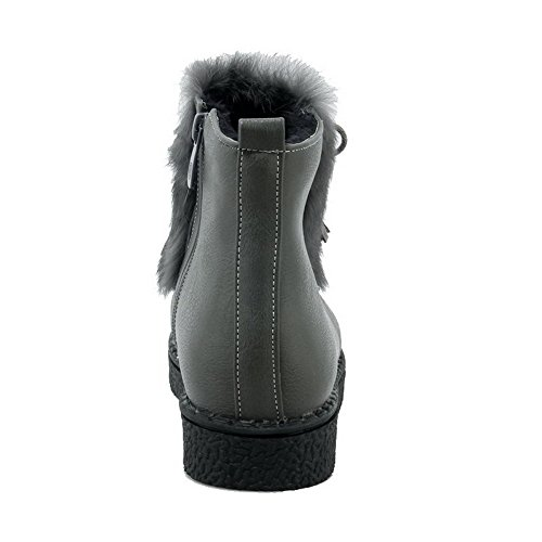 AllhqFashion Womens Low-top Solid Zipper Round Closed Toe Low-Heels Boots Gray EwRPmMq92