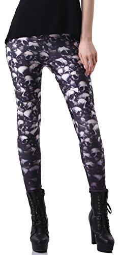 - QZUnique Women's Grinning Skull Print Dark Ankle Length Leggings Tights