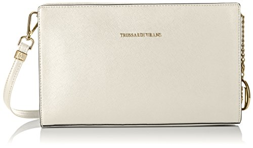 TRUSSARDI JEANS faux leather POCHETTE with shoulder Blanco (Bianco)