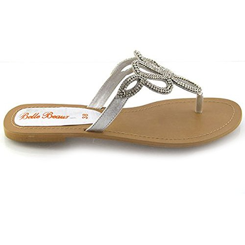 LADIES FLAT DIAMANTE SANDALS TOE POST WOMENS HOLIDAY DRESSY BLING PARTY SIZE 3-8 Silver NRueuY7x