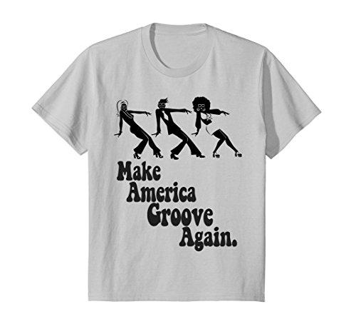 Kids MAGA Make America Groove Again 1970s Disco Dancers T Shirt 12 Silver - 70s Go Go Dancer