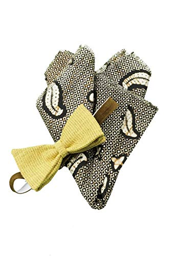 Bow Tie and Pocket Square Set, Men, Adjustable with Hook, Linen, Cotton, Yellow, Brown, Ivory, One size