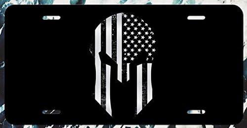 Amazon.es: JMM Industries Casco Espartano con Incrustaciones de Bandera Estadounidense Estilo Grunge con Placa de matrícula de Aluminio Grabado con Fondo Negro DE 30, 48 cm por 15, 24 cm