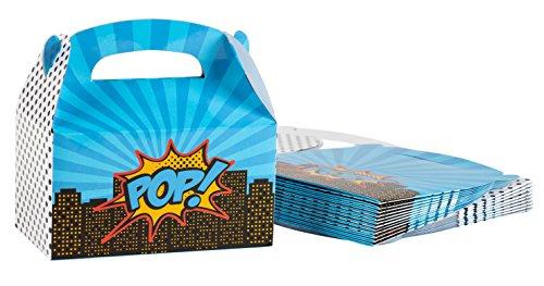 Treat Boxes - 24-Pack Paper Party Favor Boxes, Pop Art Comic Design Goodie Boxes for Birthdays and Events, 2 Dozen Party Gable Boxes, 6 x 3.3 x 3.6 -