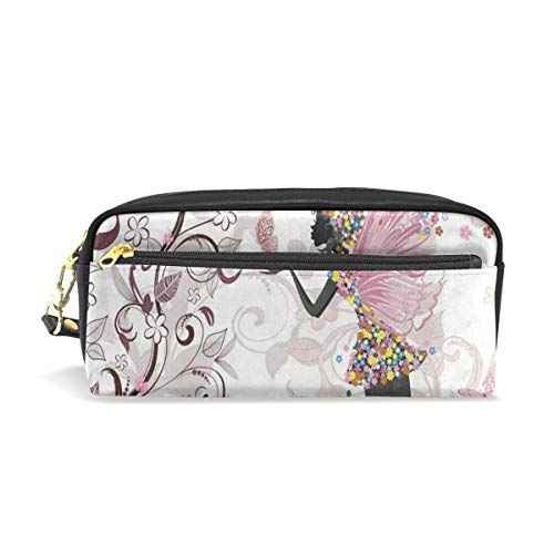 Pencil Pouch Beautiful Flower Print Butterfly Girl Vintage Pen Case Zipit Cute School Makeup Cosmetic Bag Organizer Holder ()