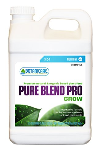 Blend Pure Grow Pro (Botanicare PURE BLEND PRO Grow Soil Nutrient 3-2-4 Formula, 2.5-Gallon)
