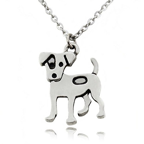 FTA Dog Pendant Necklace- Silver Pendant Charm Dog Layered Charms Mom Gifts (Jack Russel Terrier)